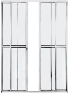 Porta Balcão 4 folhas - aluminio Branco - linha PLUS