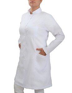 Jaleco Feminino Gabardine Branco Gola Padre Manga Longa Com Punho Com Bordado