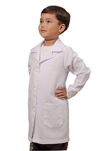 Jaleco Microfibra Branco Unissex Infantil Sem Bordado