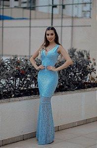 vestido longo tifanny azul