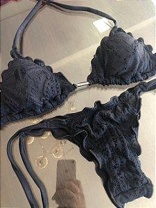 Biquinis Ripple preto com detalhe em rendas