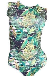Maio Garota de Luxo Beachwear Com Tradicional Verde Folhas Multicolorido