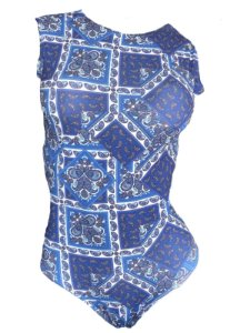 Maio Garota de Luxo Beachwear Com Tradicional Azul Geometricos Multicolorido