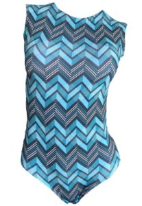 Maio Garota de Luxo Beachwear Com Tradicional Azul Zigzag Multicolorido