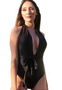 Maio Garota de Luxo Beachwear Com Decote Profundo Preto Multicolorido