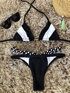 Biquinis Cortinha Tri Collor Preto e Branco Lançamento