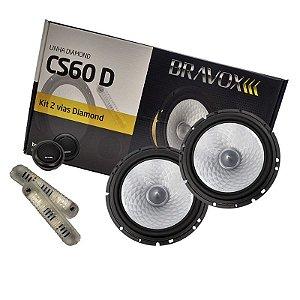 Par Alto-Falantes CS60 D 2 Vias 6 Pol 140W Rms Bravox