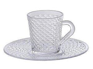 Xicara Com Pires Para Café e Chá 120 ML Cristal Luxxor