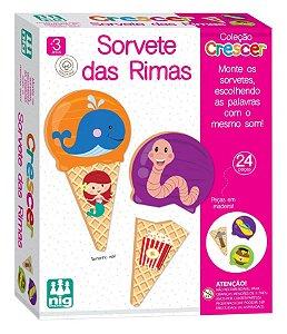Jogo Educativo Sorvete Das Rimas Em Madeira Col.Crescer 0455 Nig Brinquedos