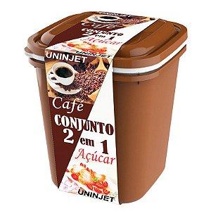 Kit 2 Potes Café + Açúcar C/ Tampa 15x14cm 0472 Uninjet