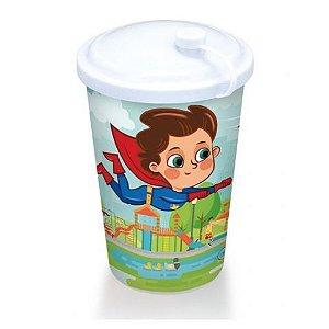 Copo Plástico Infantil Com Tampa Super Herói  550 ML  Azul 25474 Arqplast