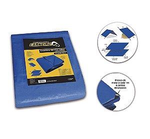 Lona / Encerado Polietileno Impermeável 4x4m Azul 3 Camadas