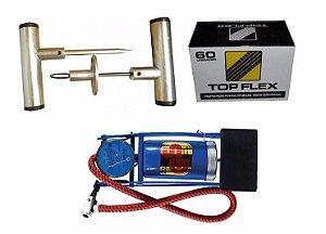 Kit Reparo Pneu S/ Camara + 60 Reparos + Bomba Inflar Pneu