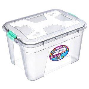 Caixa Organizadora Transparente 20 Litros c/ Travas Coloridas PP Uninjet