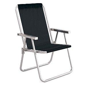 Cadeira Alta Conforto Aluminio Preta Sannet MOR
