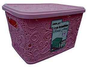Caixa Organizadora Floral Rosa 5,5 Litros  Uninjet