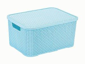 Caixa Organizadora Rattan 7 Litros C/ Tampa Baby Azul
