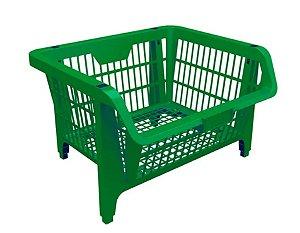 Cesto Prático Expositor Organizador Em Plástico Empilhável Verde