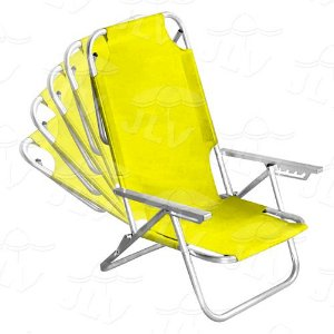 Cadeira Espreguiçadeira Em Alumínio Fortaleza Amarela JLV
