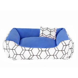 Cama de cachorro 60 x 60 Geométrica Azul