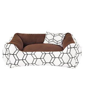 Cama de cachorro 60 x 60 Geométrica Marrom