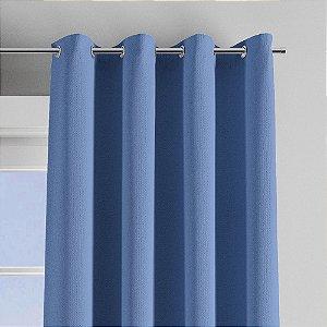 Cortina Longa Poliester e Algodão Corta Luz Azul