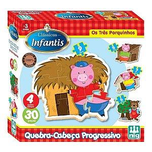 Jogo Infantil Educativo Os Três Porquinhos 30 Peças Nig