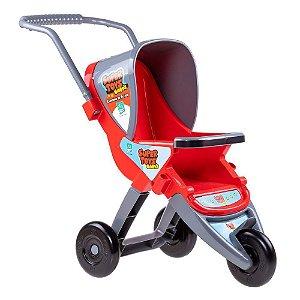 Carrinho De boneca Bebe 3 Rodas Infantil Vermelho Super Toys