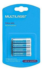 Pilha Recarregável Multilaser 1000mah AAA Pack C/4 Cb050