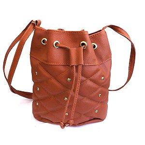 Bolsa Feminina Marrom/Dourado 22x26x12cm Fashion Brazil