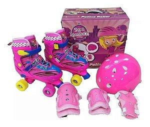 Patins Infantil Quadrado Rosa com Acessórios Tam 34-37 Unitoys