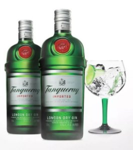 KIT TANQUERAY 2 GARRAFAS TANQUERAY REGULAR 750ML + TAÇA VIDRO