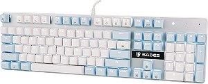 Sades Teclado Mecânico K10 Switch Cherry Azul Angel Edition Branco e azul  Especial