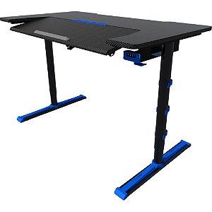 Mesa Gamer Sades Alpha em Aço e FIbra de Carbono, altura ajustável, angulo do teclado ajustável e LED