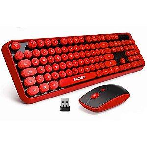 SADES V2020 teclado + mouse sem fio Wireless 2,4Ghz Vermelho
