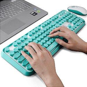 SADES V2020 teclado + mouse sem fio Wireless 2,4Ghz Azul ABNT