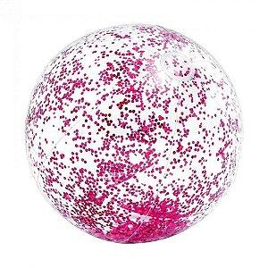 Bola de Praia Transparente com Glitter Intex Pink 71cm