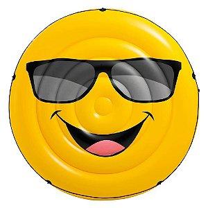 Boia Ilha Inflável Emoji Cara Legal Intex 173cm