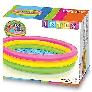 Piscina Inflável Infantil 3 Anéis Colorida Por do Sol 131 Litros Intex