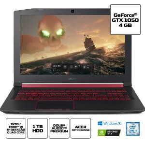 Notebook Acer Gamer Nitro 5 An515-52-52bw Intel Core I5 8300h 8gb 1tb 15,6 FHD IPS GTX 1050 4gb