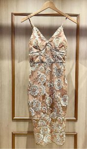 Vestido Midi em Tule e Bordado Floral