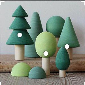 Conjunto de árvores Miniatura em Madeira