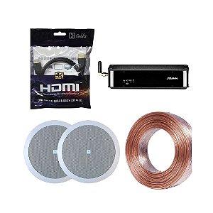 Kit RD HDMI Frahm + 2 Arandelas 6CO2R JBL + 20m Fio 2x1,5mm + Brinde