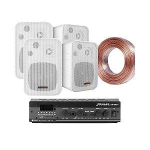 Kit Amplificador Frahm Slim 1600 APP + 04 Caixas Hayonik MSB60N Brancas + 30m Fio 2x1,5mm