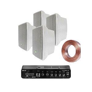 Kit Amplificador Frahm Slim 2000 APP + 04 Caixas JBL C321 Brancas + 30m Fio 2x1,5mm