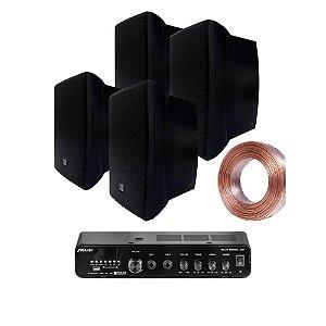 Kit Amplificador Frahm Slim 2000 APP + 04 Caixas JBL C321 Pretas + 30m Fio 2x1,5mm