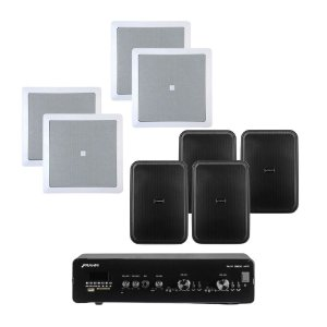"Kit Amplificador Frahm Slim 3900 APP + 4 Arandelas 6CO1Q JBL + 4 Caixas Frahm HS 5"" Outdoor Preta"