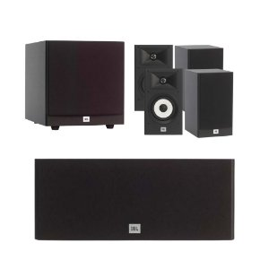 Kit de Caixas Acústicas 5.1 JBL Para Home Theater - 1 Stage A125C Central + 4 Stage A130 Bookshelf + 1 Subwoofer Stage A100P
