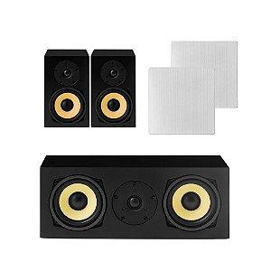 Kit Home Theater 5.0 AAT - 1 Rakt C-140 + 2 Caixas Acústicas Rakt BSF-70 + 2 NQ6-M100