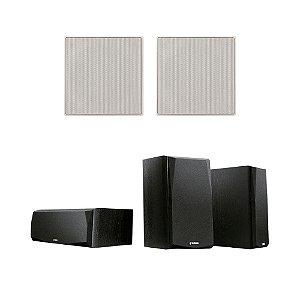 Kit 5.0 Caixas Acústicas Yamaha NS-P51 - 1 Central + 2 Surrounds + 2 Arandelas JBL CI6S Quadradas De Embutir